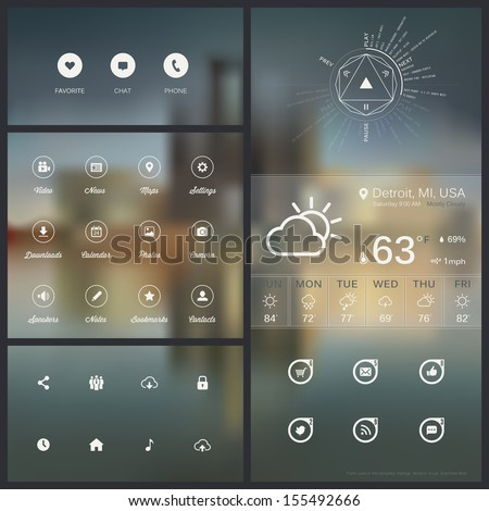 Collection of various resources/tools for web and mobile design - stock vector
