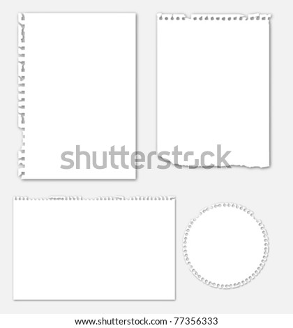 Collection of various ripped note paper - stock vector