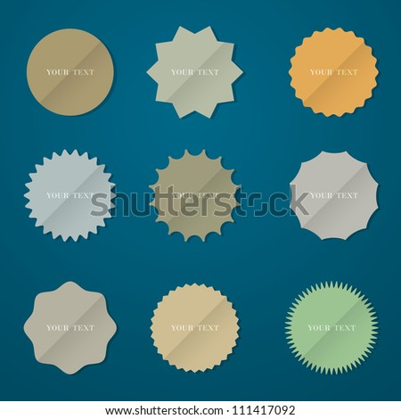 Collection of various round stickers.Vector eps10 - stock vector