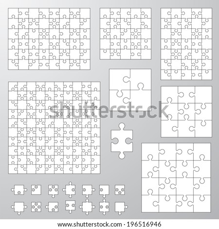 collection of various sizes jigsaw puzzle. Vector illustration - stock vector