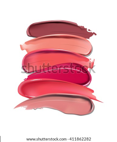Collection of various Smears lipstick on white background. Beauty and cosmetics background. Use for advertising flyer, banner, leaflet. Template Vector. - stock vector