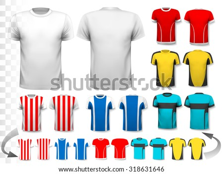 Collection of various soccer jerseys. The T-shirt is transparent and can be used as a template with your own design. Vector. - stock vector