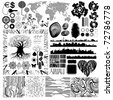 Collection of various theme and design isolated vector elements. All shapes and patterns are drawn manually, without using tracing command. eps8 vector - stock photo