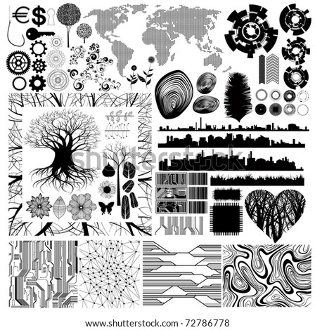 Collection of various theme and design isolated vector elements. All shapes and patterns are drawn manually, without using tracing command. eps8 vector