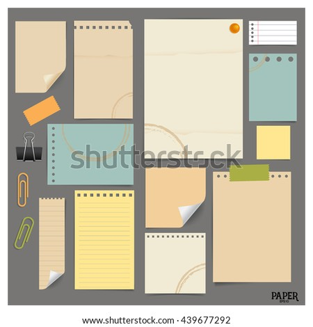 Collection of various vintage papers (paper sheets, note paper), ready for your message. Vector illustration.