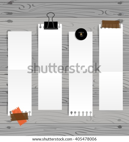 Collection of various white note papers, ready for your message. Vector illustration. - stock vector