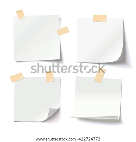 Collection of various white note papers with curled corner and adhesive tape, ready for your message. Vector illustration. Isolated on white background. Front view. Close up. - stock vector