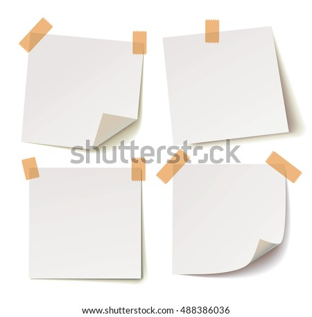 collection of various white note papers with shadow and adhesive tape on white background, vector illustration
