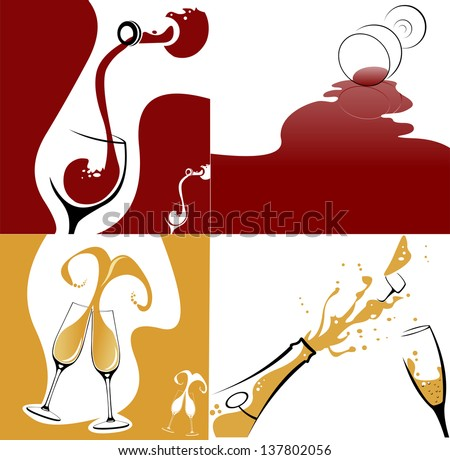 Collection of various wine and champagne concept. Easy editable layered vector illustration. - stock vector