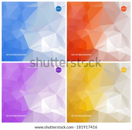 Collection of vector abstract polygonal backgrounds: blue, orange, purple and yellow - stock vector