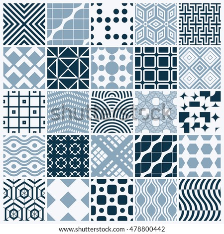 Collection of vector abstract seamless compositions, symmetric ornate backgrounds created with simple geometric shapes. Black and white.