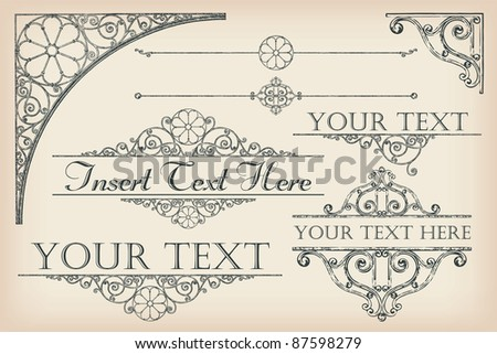 Collection of vector antique-style design elements - stock vector