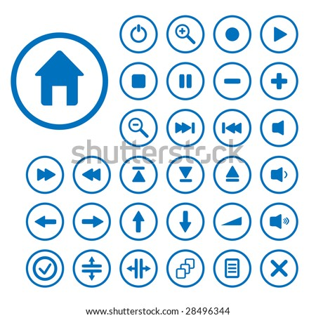 Collection of vector audio buttons. Easy to edit, any size. - stock vector