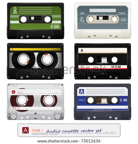 Collection of vector audio cassettes - stock vector