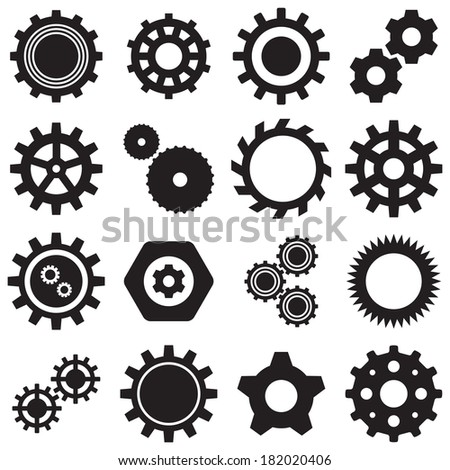 collection of 16 Vector black gears icons