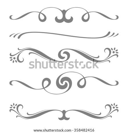Collection of vector calligraphic lines ornaments or dividers . Retro style - stock vector
