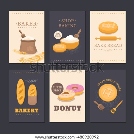 Collection Of Vector Cards Shop Bakery With Bread Flour Loaf And Donut Set