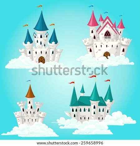 Collection of vector cartoon fairytale castle in clouds - stock vector