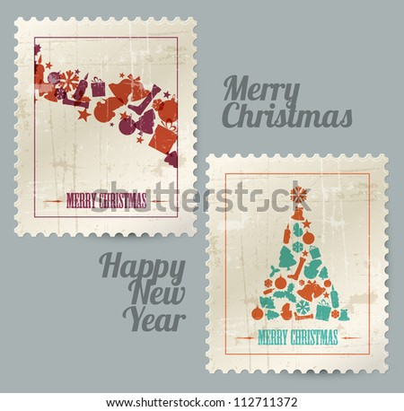 Collection of vector christmas vintage postage stamps made from christmas elements - stock vector