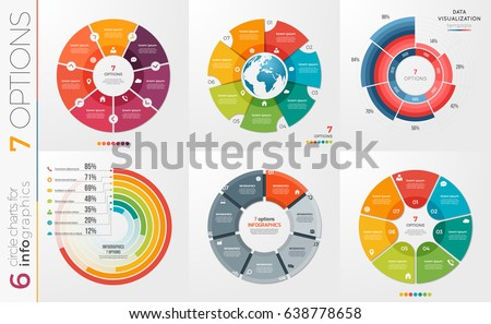 Collection 6 vector circle chart templates stock vector 638778658 collection of 6 vector circle chart templates for infographics with 7 options ccuart Choice Image