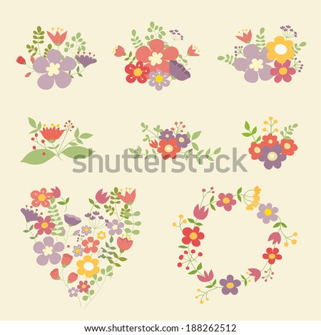 Collection of vector color floral compositions. Ideal for decoration of invitations, texts, cards, scrap book, etc. - stock vector