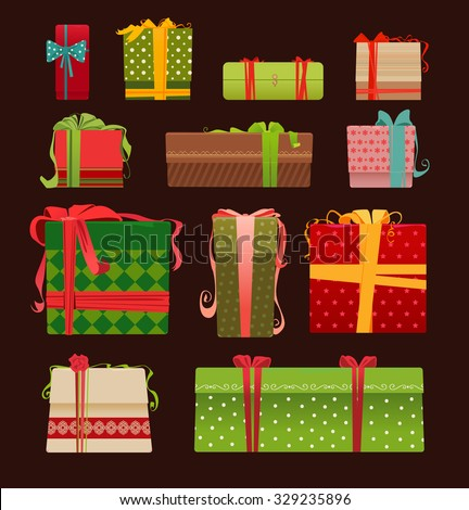 Collection of vector colorful Christmas present boxes.  - stock vector