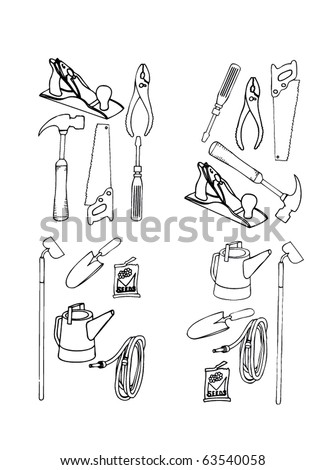 Collection of vector contours of various tools in black-and-white execution - stock vector