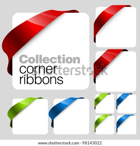 Collection of Vector corner ribbons - stock vector