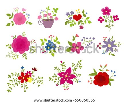 Collection Of Vector Decoration Floral Elements Can Be Used For Celebration Cards Invitation