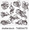 Collection of vector design elements. Vintage floral ornaments for retro design or banner. - stock vector