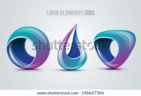 Collection of vector design logo elements for business and icons design - stock vector