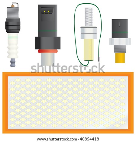 Collection of vector efficiency and pollution related automotive parts. Includes spark plug, port fuel injector, oxygen sensor, coolant temperature sensor, & air filter (reader order - for ID). - stock vector
