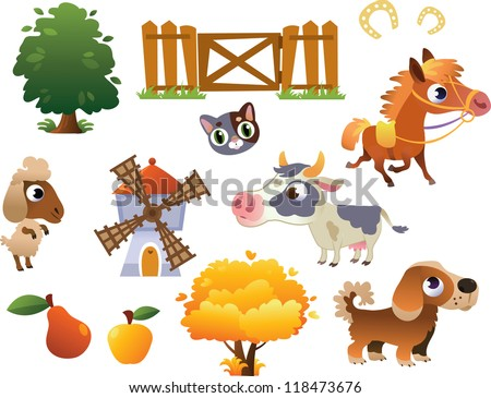 Collection of vector farm animals - stock vector
