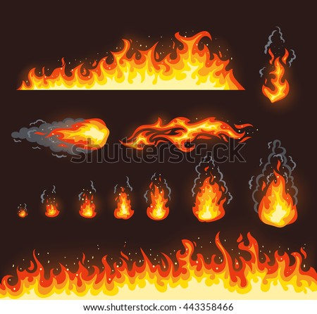Collection of vector fire illustrations with different size - stock vector