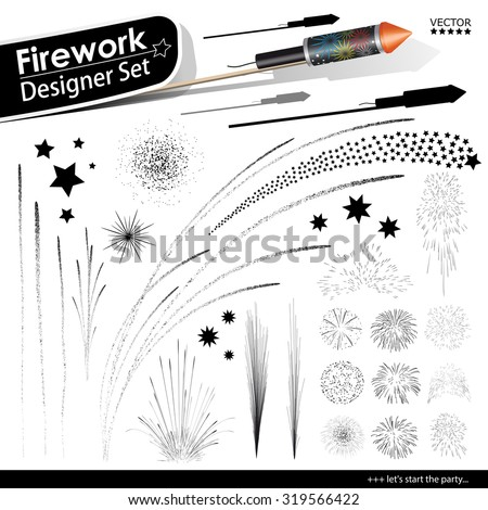 Collection of Vector Firework Rocket Explosion Effects - Set of Blasting Pyrotechnics. Black Shapes and Silhouettes. New Years Eve Design Template. - stock vector