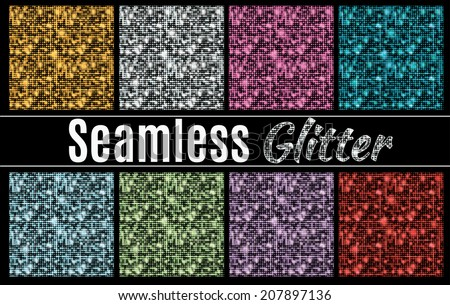 Collection of vector glitter seamless patterns - stock vector