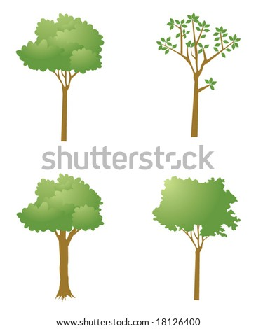 Collection of Vector Green Trees