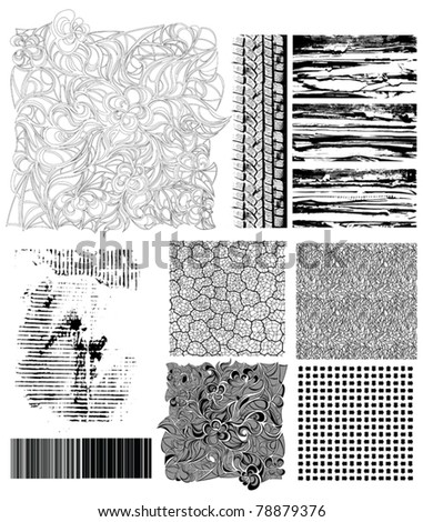 Collection of vector grunge textures and manually drawn creative patterns.