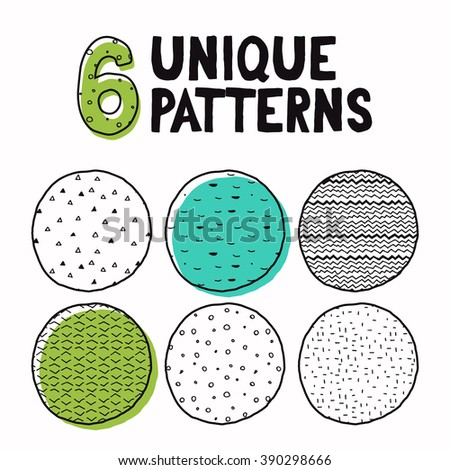 Collection of vector handmade seamless patterns. Perfect for creating greeting cards, posters, backgrounds, business cards and more... - stock vector