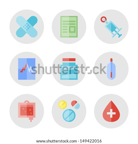 Collection of vector icons in modern flat design style on medical and healthcare theme.  Isolated on white background. - stock vector