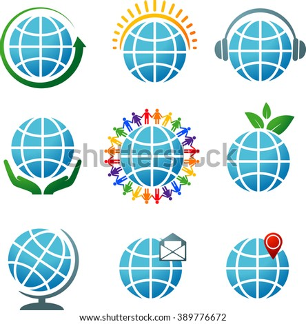 Collection of vector icons with the globes. eps 10 - stock vector