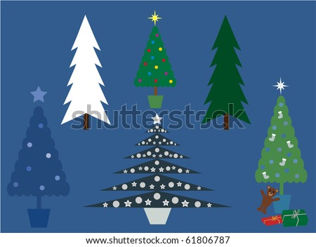 Collection of vector illustration Christmas trees - stock vector
