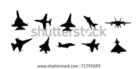 collection of vector illustration military fighter jet silhouettes - stock vector