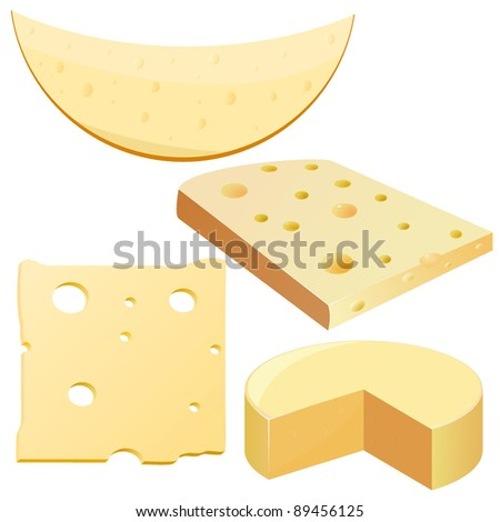 Collection of vector illustrations cheese - stock vector