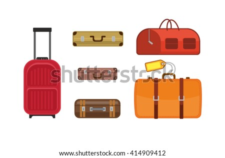 Collection of vector illustrations of a variety of travel bags and suitcases