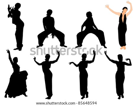 Collection of vector illustrations of dancers - stock vector
