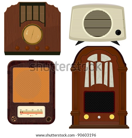 Collection of vector illustrations of old radio - stock vector