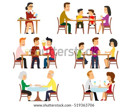 Collection of 6 vector illustrations on the theme of people eat. family at the table having breakfast. Friends drinking beer at the meeting. romantic date. dinner elderly couple.