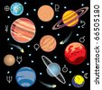 collection of vector images of planets in the solar system with graphical symbols - stock photo