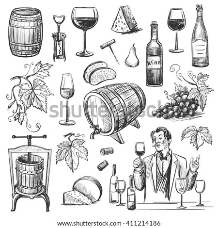 Collection of vector images of wine and wine making . Isolated objects on a white background - stock vector